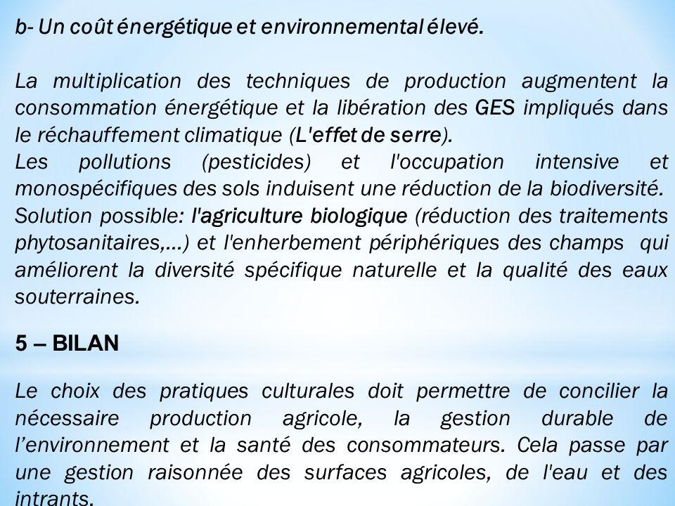 b- Un coût énergétique et environnemental élevé. La multiplication des techniques de production augmentent la consommation énergétique et la libératio