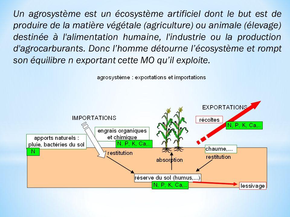 Un agrosystème est un écosystème artificiel dont le but est de produire de la matière végétale (agriculture) ou animale (élevage) destinée à l'aliment