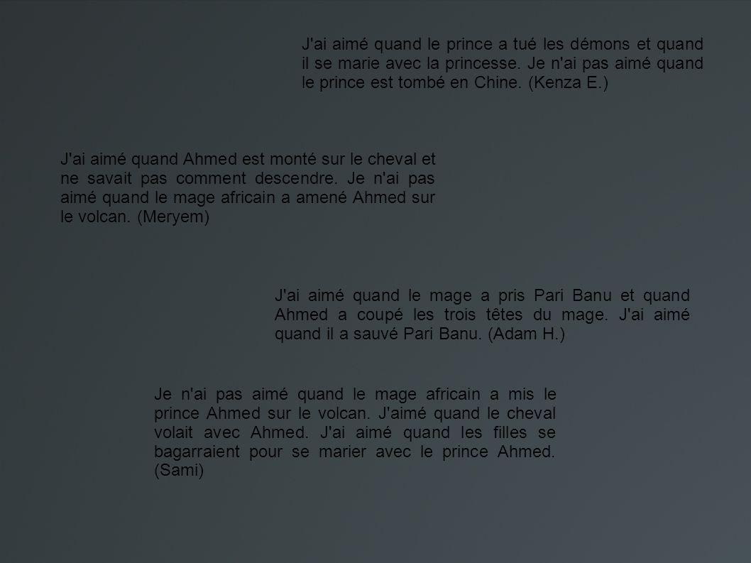 J ai aimé quand la sorcière a tué le mage africain et quand le prince Ahmed avec Aladin a tué les démons.