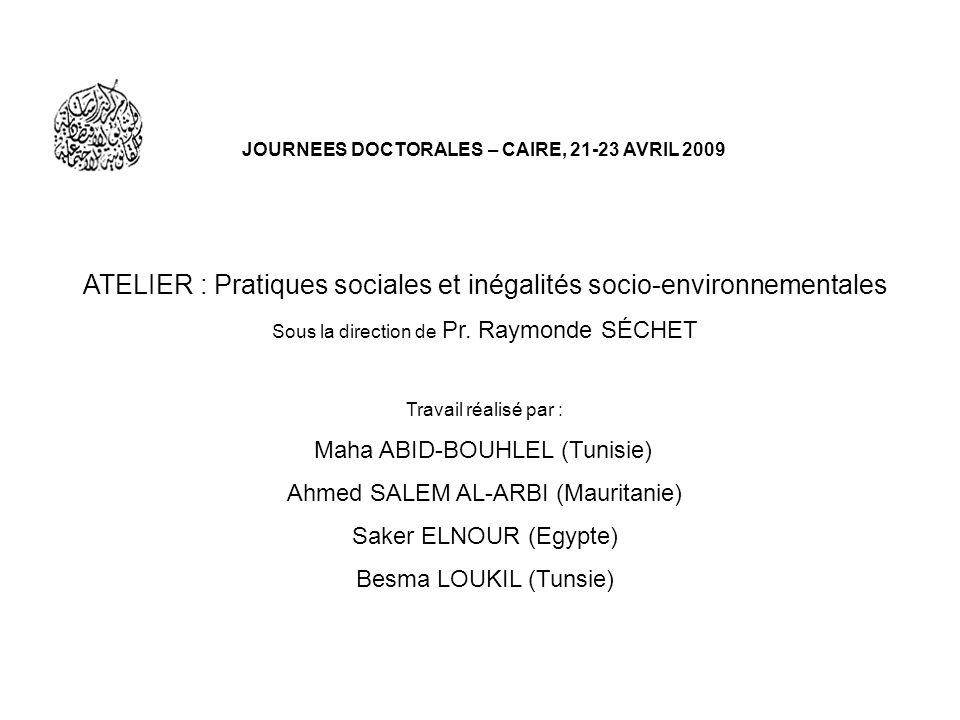 JOURNEES DOCTORALES – CAIRE, 21-23 AVRIL 2009 ATELIER : Pratiques sociales et inégalités socio-environnementales Sous la direction de Pr. Raymonde SÉC