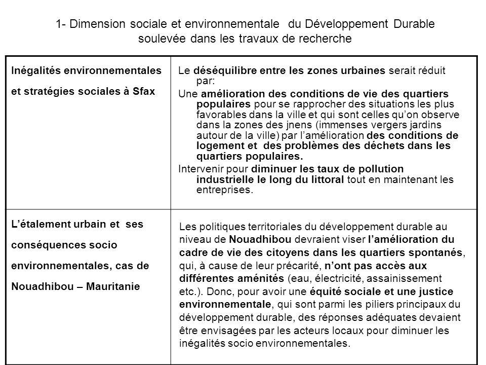 Inégalités environnementales et stratégies sociales à Sfax L'étalement urbain et ses conséquences socio environnementales, cas de Nouadhibou – Maurita