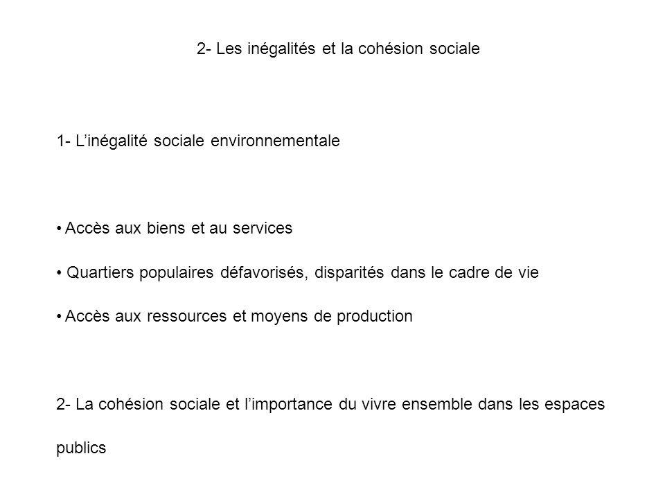 2- Les inégalités et la cohésion sociale 1- L'inégalité sociale environnementale Accès aux biens et au services Quartiers populaires défavorisés, disp