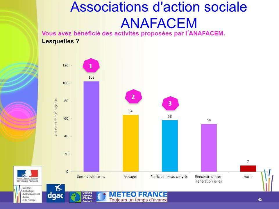 Comité Central d'Action Sociale Vous avez bénéficié des activités proposées par l'ANAFACEM. Lesquelles ? Associations d'action sociale ANAFACEM 1 3 2