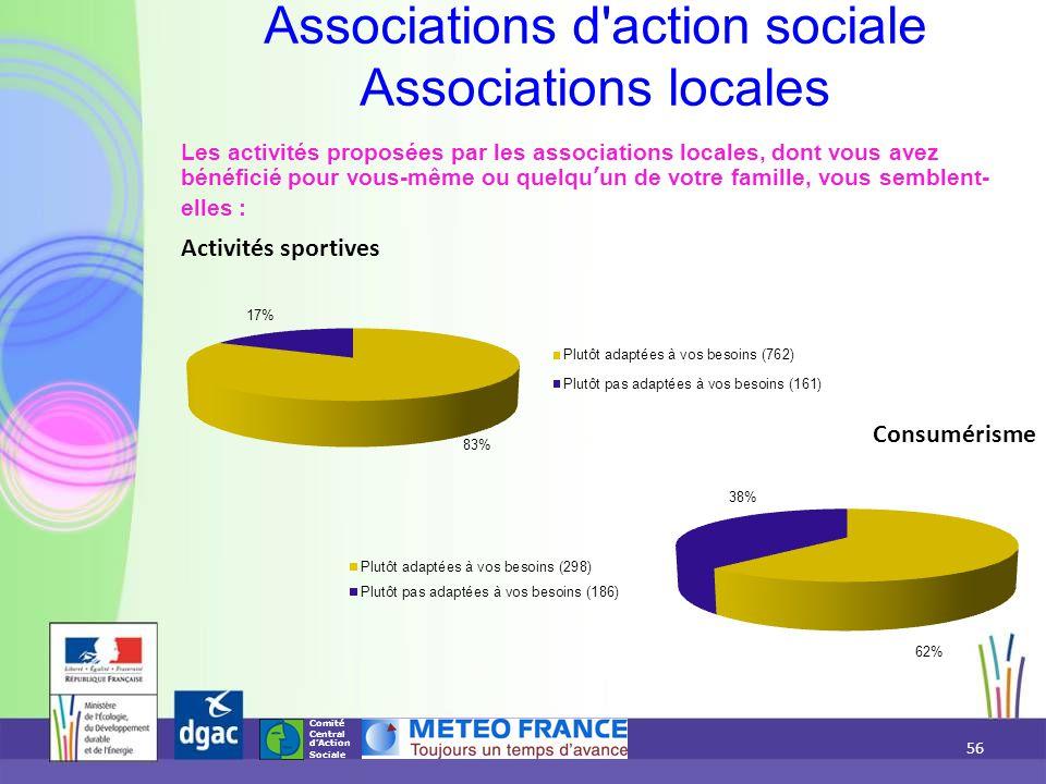 Comité Central d'Action Sociale Les activités proposées par les associations locales, dont vous avez bénéficié pour vous-même ou quelqu'un de votre fa