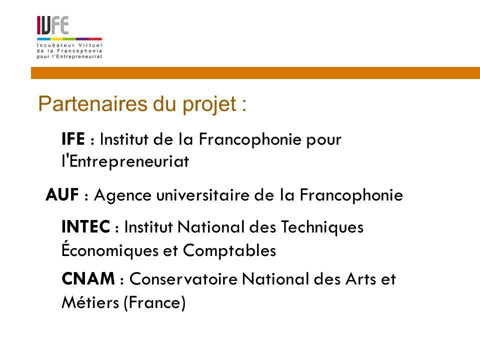  IFE : Institut de la Francophonie pour l Entrepreneuriat 15 Partenaires du projet : AUF : Agence universitaire de la Francophonie  INTEC : Institut National des Techniques Économiques et Comptables  CNAM : Conservatoire National des Arts et Métiers (France)