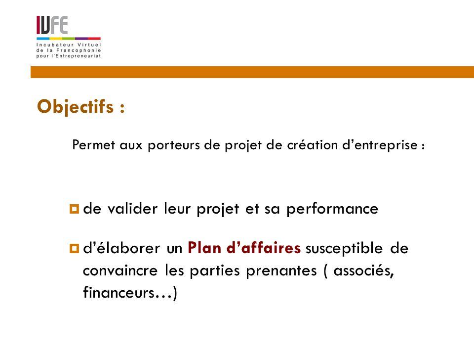 Objectifs : 2  de valider leur projet et sa performance  d'élaborer un Plan d'affaires susceptible de convaincre les parties prenantes ( associés, financeurs…) Permet aux porteurs de projet de création d'entreprise :