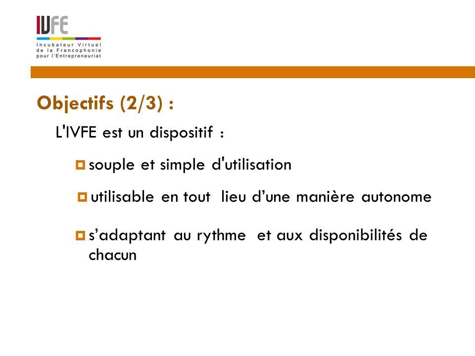 L IVFE est un dispositif : 3  souple et simple d utilisation  utilisable en tout lieu d'une manière autonome  s'adaptant au rythme et aux disponibilités de chacun Objectifs (2/3) :