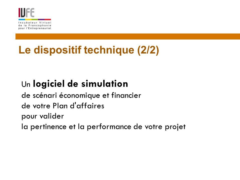 8 Le dispositif technique (2/2) Un logiciel de simulation de scénari économique et financier de votre Plan d affaires pour valider la pertinence et la performance de votre projet