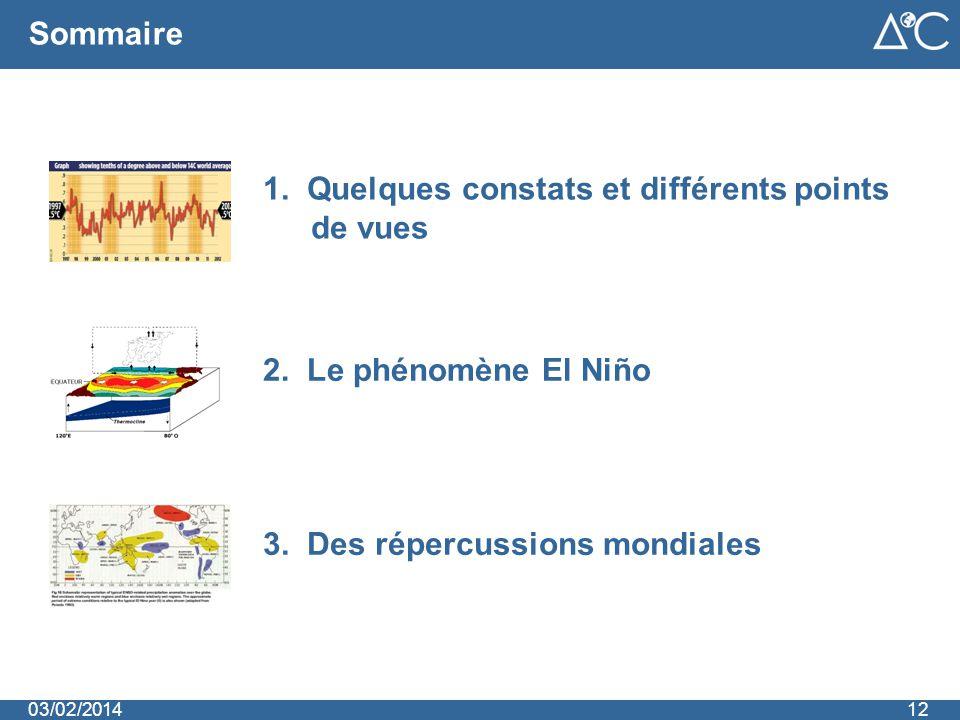 2. Le phénomène El Niño Sommaire 1. Quelques constats et différents points de vues 3. Des répercussions mondiales 1203/02/2014