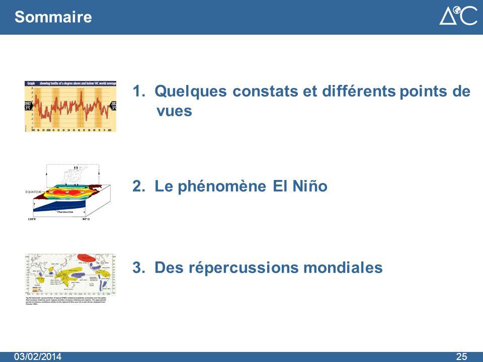 Sommaire 3. Des répercussions mondiales 2. Le phénomène El Niño 1. Quelques constats et différents points de vues 2503/02/2014