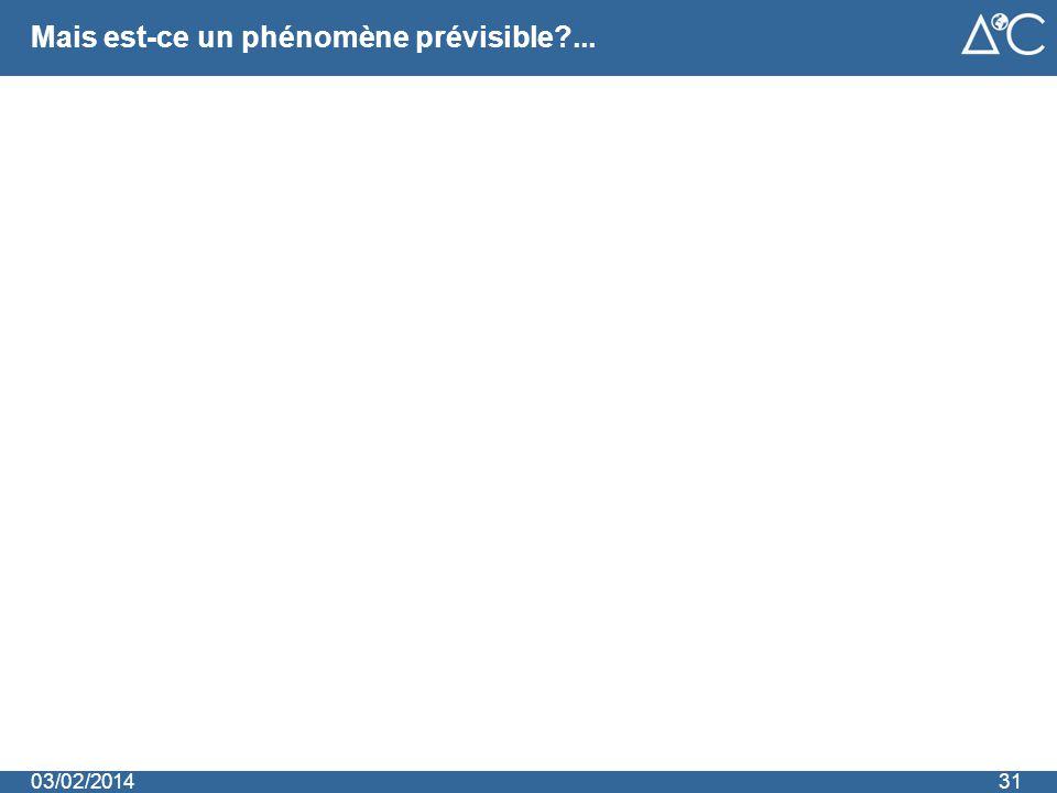 Mais est-ce un phénomène prévisible?... 3103/02/2014