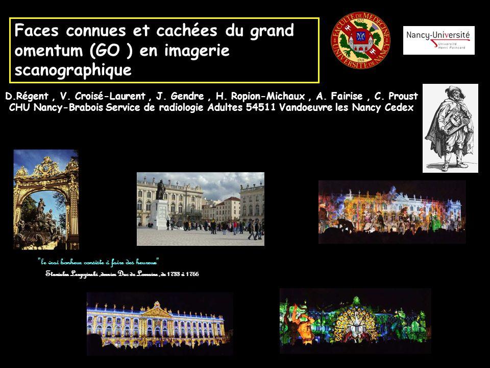 Faces connues et cachées du grand omentum (GO ) en imagerie scanographique D.Régent, V. Croisé-Laurent, J. Gendre, H. Ropion-Michaux, A. Fairise, C. P