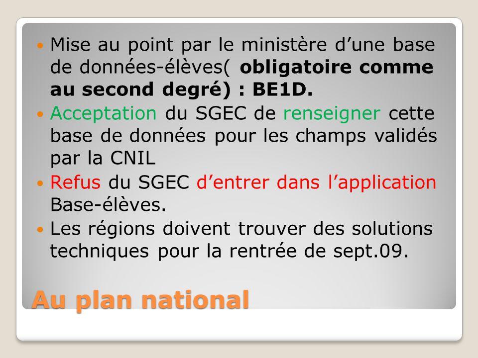 Au plan national Mise au point par le ministère d'une base de données-élèves( obligatoire comme au second degré) : BE1D. Acceptation du SGEC de rensei