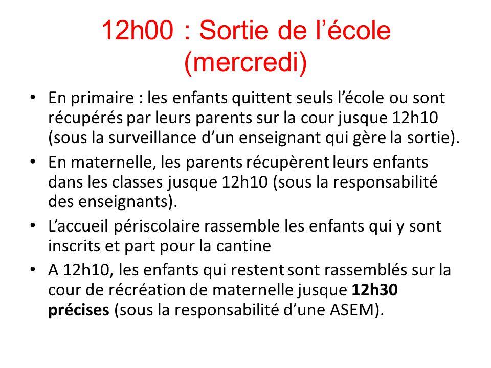 12h00 : Sortie de l'école (mercredi) En primaire : les enfants quittent seuls l'école ou sont récupérés par leurs parents sur la cour jusque 12h10 (so