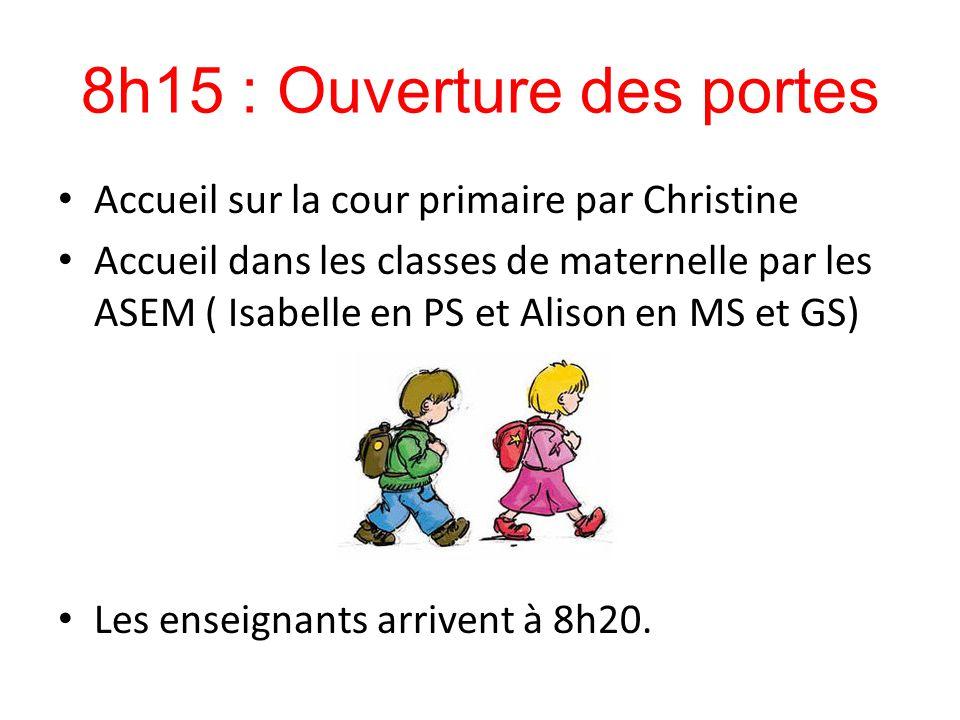 8h15 : Ouverture des portes Accueil sur la cour primaire par Christine Accueil dans les classes de maternelle par les ASEM ( Isabelle en PS et Alison