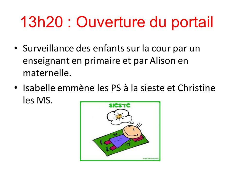 13h20 : Ouverture du portail Surveillance des enfants sur la cour par un enseignant en primaire et par Alison en maternelle. Isabelle emmène les PS à