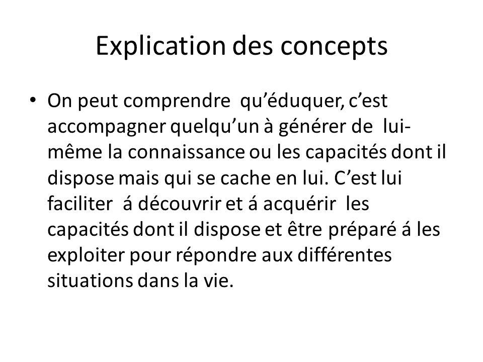 Explication des concepts avec Luc Bussière que l'éducation sous- entend l'ensemble des processus par lesquels une société transmet d'une génération à l'autre son expérience et son héritage accumulés dans les domaines social, intellectuel et religieux.