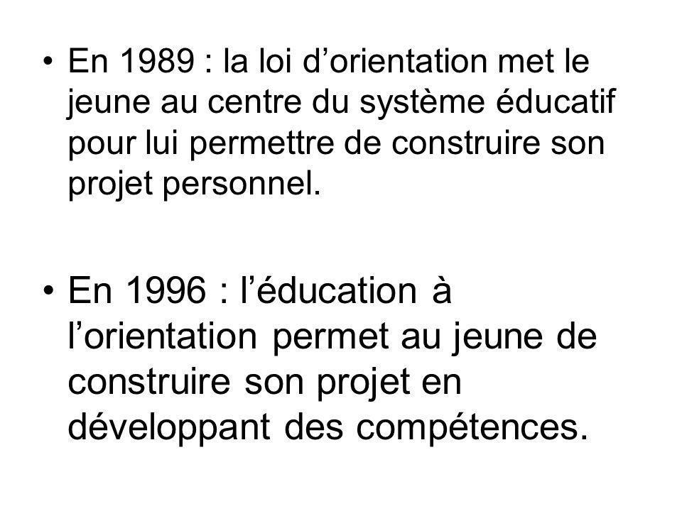 En 1989 : la loi d'orientation met le jeune au centre du système éducatif pour lui permettre de construire son projet personnel. En 1996 : l'éducation