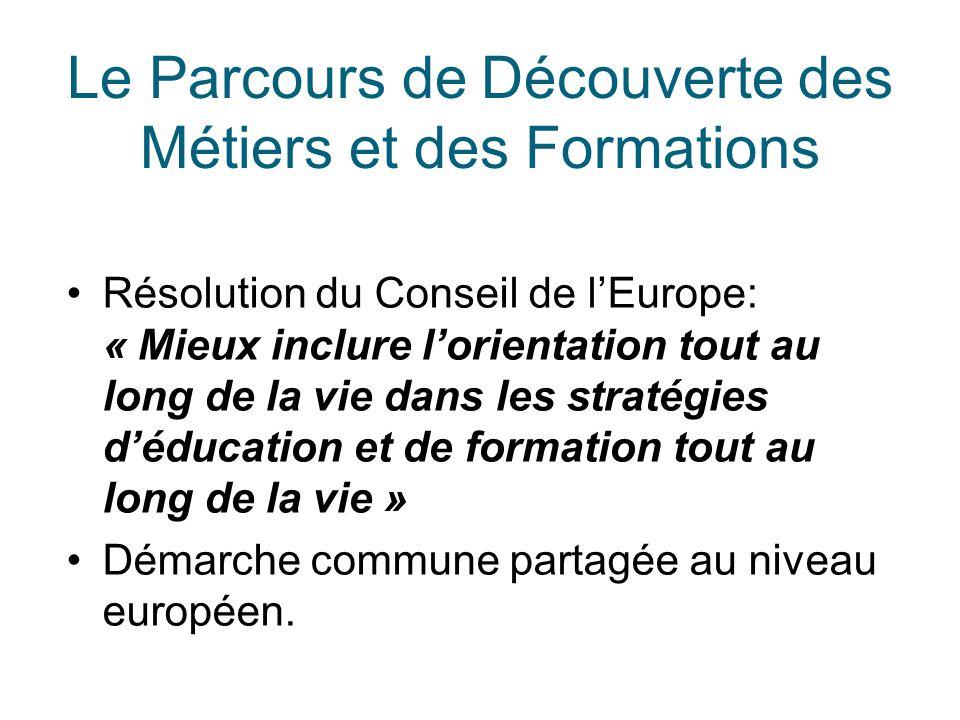 Le Parcours de Découverte des Métiers et des Formations Résolution du Conseil de l'Europe: « Mieux inclure l'orientation tout au long de la vie dans l