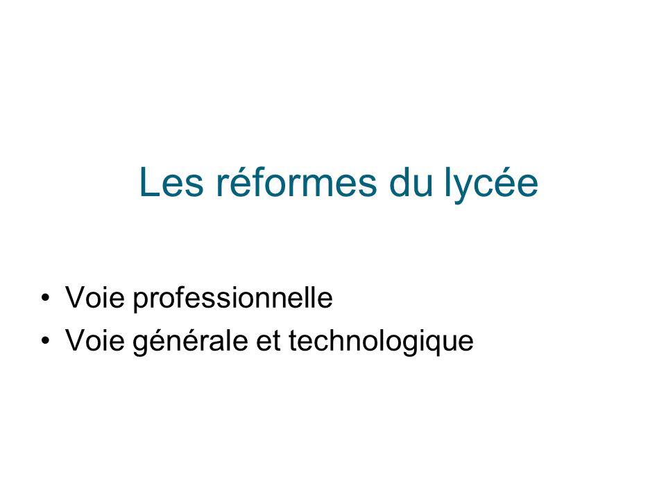 Les réformes du lycée Voie professionnelle Voie générale et technologique