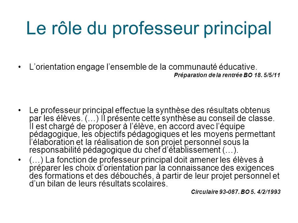 Le rôle du professeur principal L'orientation engage l'ensemble de la communauté éducative. Préparation de la rentrée BO 18. 5/5/11 Le professeur prin