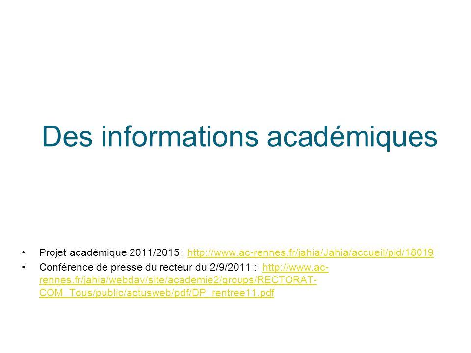Des informations académiques Projet académique 2011/2015 : http://www.ac-rennes.fr/jahia/Jahia/accueil/pid/18019http://www.ac-rennes.fr/jahia/Jahia/ac