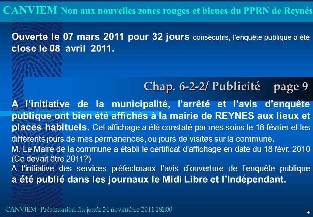 CANVIEM Non aux nouvelles zones rouges et bleues du PPRN de Reynés CANVIEM Présentation du jeudi 24 novembre 2011 18h00 4 Chap.