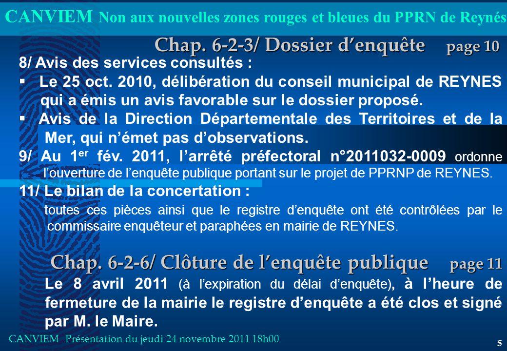 CANVIEM Non aux nouvelles zones rouges et bleues du PPRN de Reynés CANVIEM Présentation du jeudi 24 novembre 2011 18h00 5 Chap.