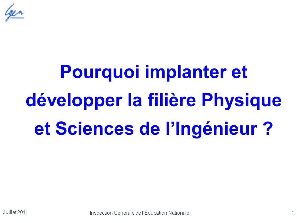 Pourquoi implanter et développer la filière Physique et Sciences de l'Ingénieur ? Juillet 2011 1Inspection Générale de l'Éducation Nationale