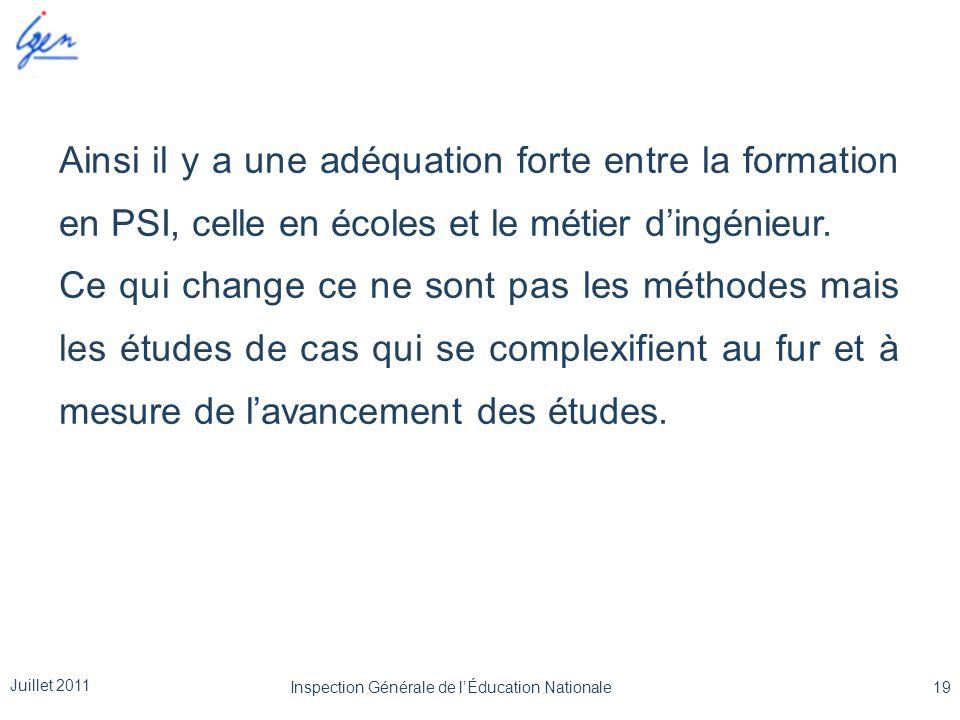 Ainsi il y a une adéquation forte entre la formation en PSI, celle en écoles et le métier d'ingénieur. Ce qui change ce ne sont pas les méthodes mais