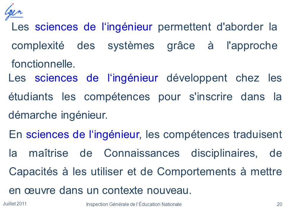 Les sciences de l'ingénieur permettent d'aborder la complexité des systèmes grâce à l'approche fonctionnelle. Les sciences de l'ingénieur développent