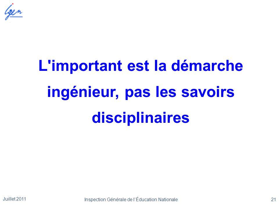 L'important est la démarche ingénieur, pas les savoirs disciplinaires Juillet 2011 21Inspection Générale de l'Éducation Nationale