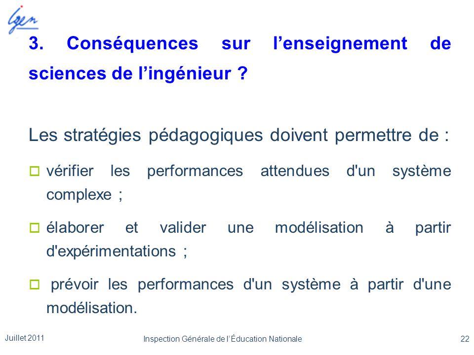 3. Conséquences sur l'enseignement de sciences de l'ingénieur ? Les stratégies pédagogiques doivent permettre de :  vérifier les performances attendu
