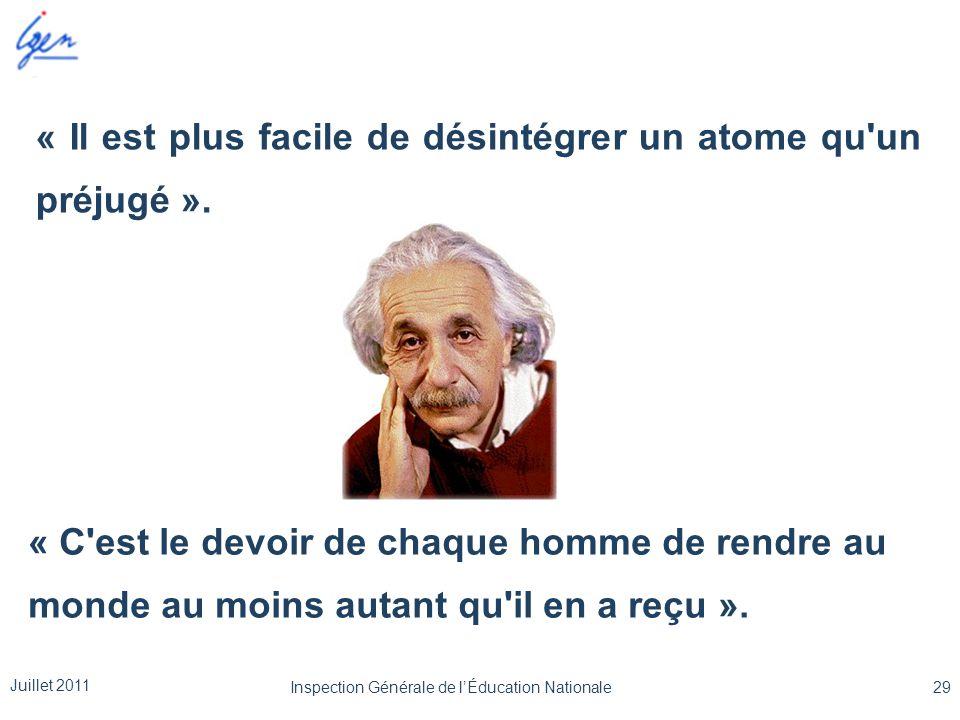 « Il est plus facile de désintégrer un atome qu'un préjugé ». « C'est le devoir de chaque homme de rendre au monde au moins autant qu'il en a reçu ».