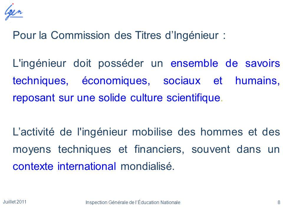 Pour la Commission des Titres d'Ingénieur : L'ingénieur doit posséder un ensemble de savoirs techniques, économiques, sociaux et humains, reposant sur
