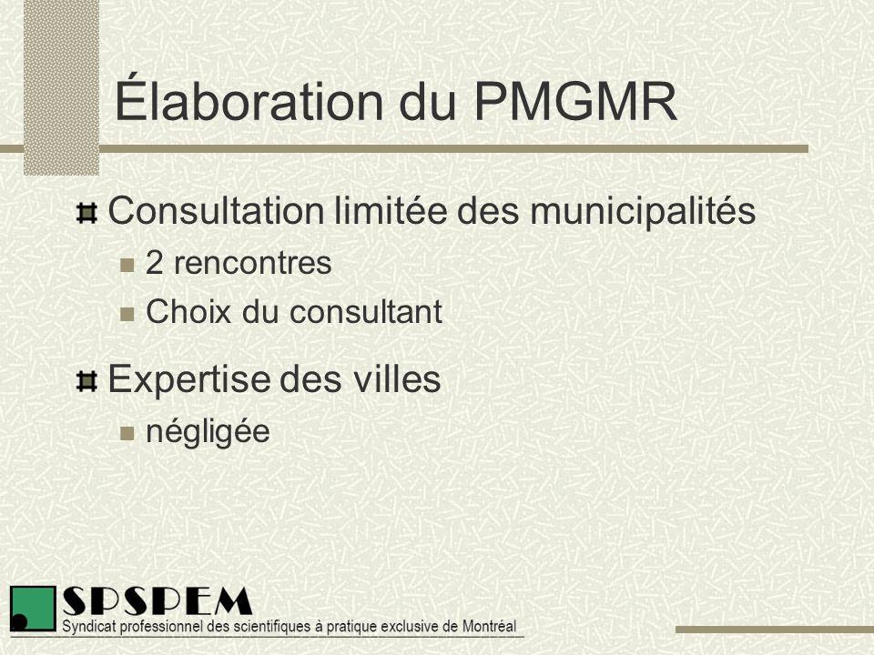 Élaboration du PMGMR Consultation limitée des municipalités 2 rencontres Choix du consultant Expertise des villes négligée