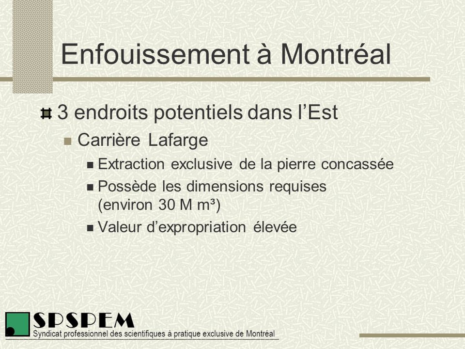 Enfouissement à Montréal 3 endroits potentiels dans l'Est Carrière Lafarge Extraction exclusive de la pierre concassée Possède les dimensions requises (environ 30 M m³) Valeur d'expropriation élevée