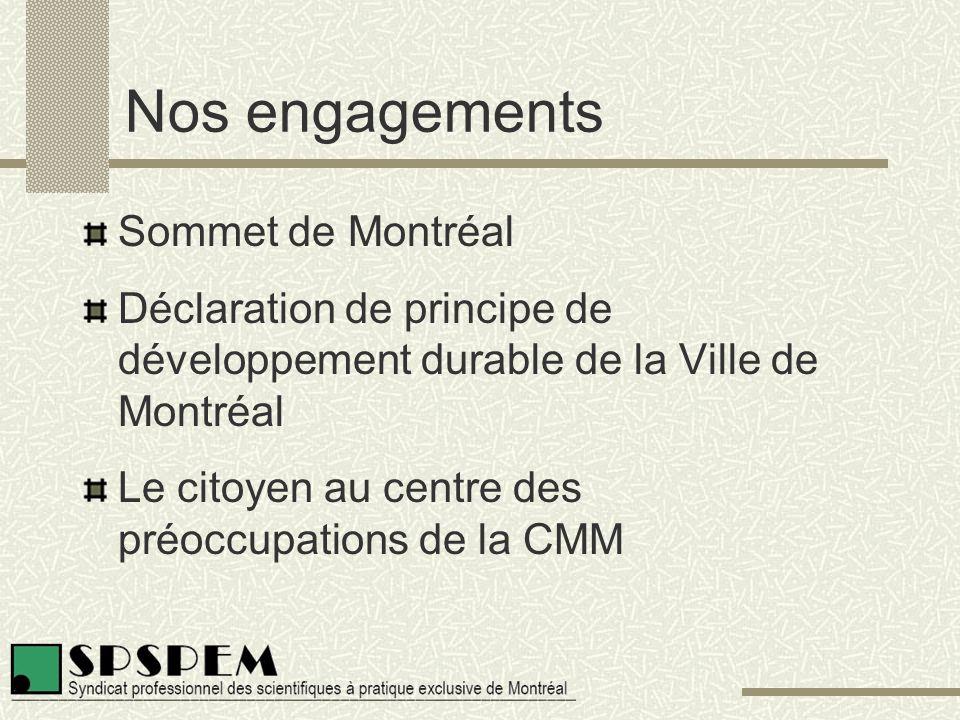 Nos engagements Sommet de Montréal Déclaration de principe de développement durable de la Ville de Montréal Le citoyen au centre des préoccupations de la CMM