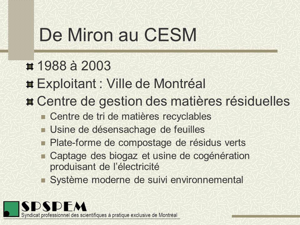 De Miron au CESM 1988 à 2003 Exploitant : Ville de Montréal Centre de gestion des matières résiduelles Centre de tri de matières recyclables Usine de désensachage de feuilles Plate-forme de compostage de résidus verts Captage des biogaz et usine de cogénération produisant de l'électricité Système moderne de suivi environnemental