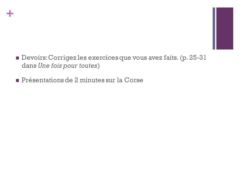 + Devoirs: Corrigez les exercices que vous avez faits. (p. 25-31 dans Une fois pour toutes) Présentations de 2 minutes sur la Corse