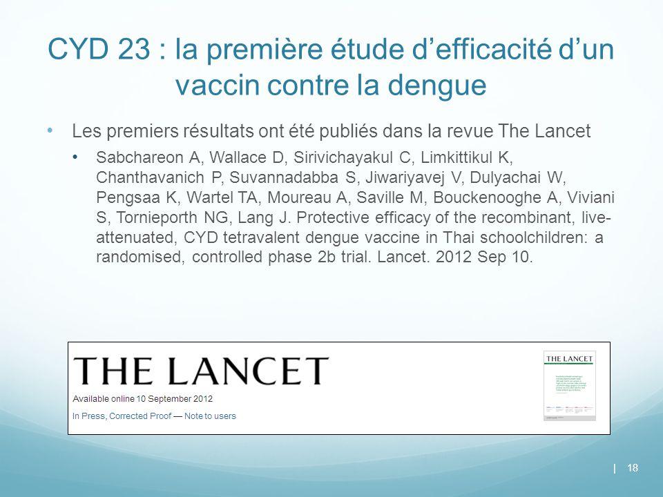 CYD 23 : la première étude d'efficacité d'un vaccin contre la dengue Les premiers résultats ont été publiés dans la revue The Lancet Sabchareon A, Wal