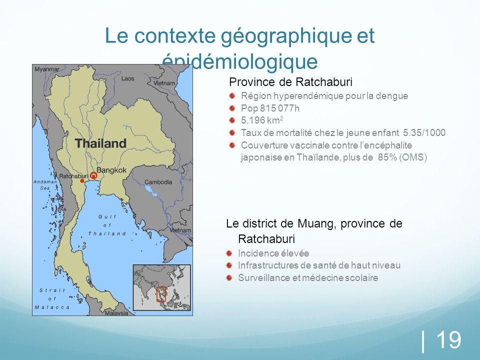Le contexte géographique et épidémiologique | 19 Province de Ratchaburi Région hyperendémique pour la dengue Pop 815 077h 5,196 km 2 Taux de mortalité