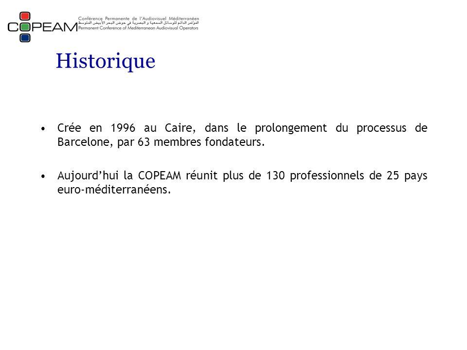 Historique Crée en 1996 au Caire, dans le prolongement du processus de Barcelone, par 63 membres fondateurs. Aujourd'hui la COPEAM réunit plus de 130