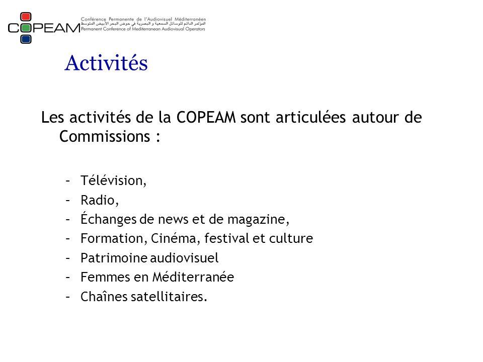 Activités Les activités de la COPEAM sont articulées autour de Commissions : –Télévision, –Radio, –Échanges de news et de magazine, –Formation, Cinéma