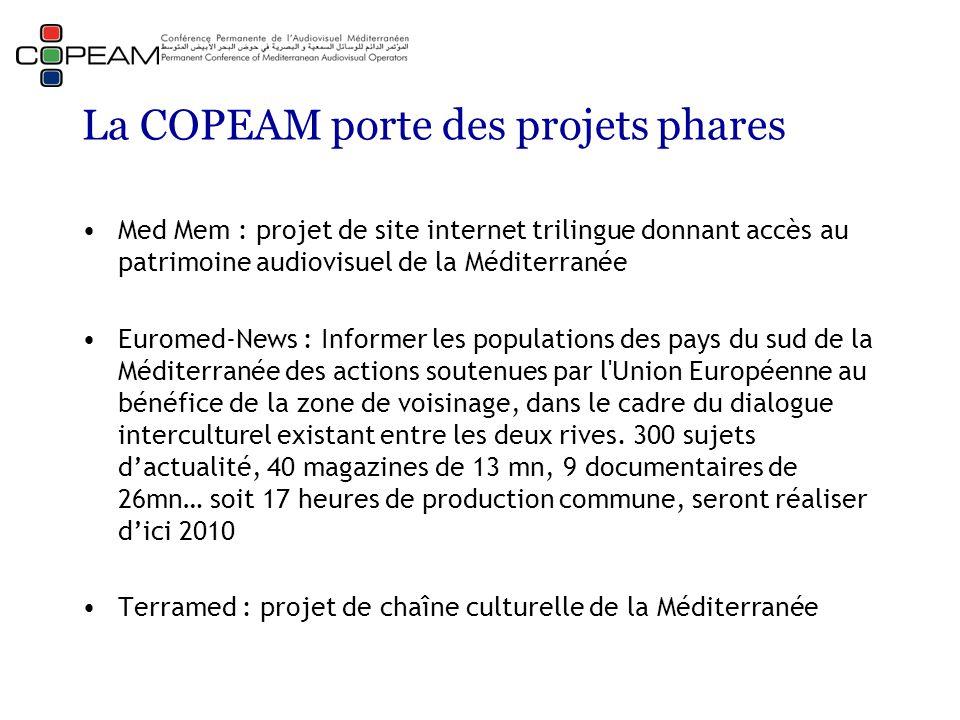 La COPEAM porte des projets phares Med Mem : projet de site internet trilingue donnant accès au patrimoine audiovisuel de la Méditerranée Euromed-News