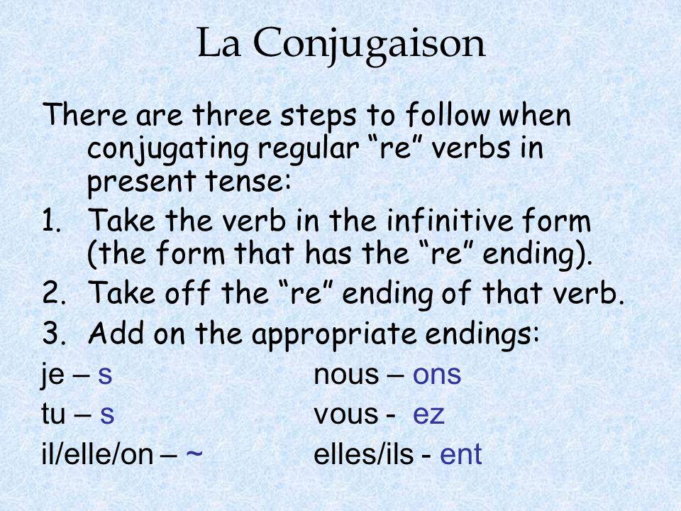 La Conjugaison 1.attendre 2.attend— 3.