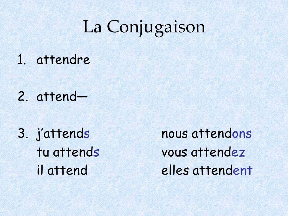 La Conjugaison 1.attendre 2.attend— 3. j'attendsnous attendons tu attendsvous attendez il attendelles attendent
