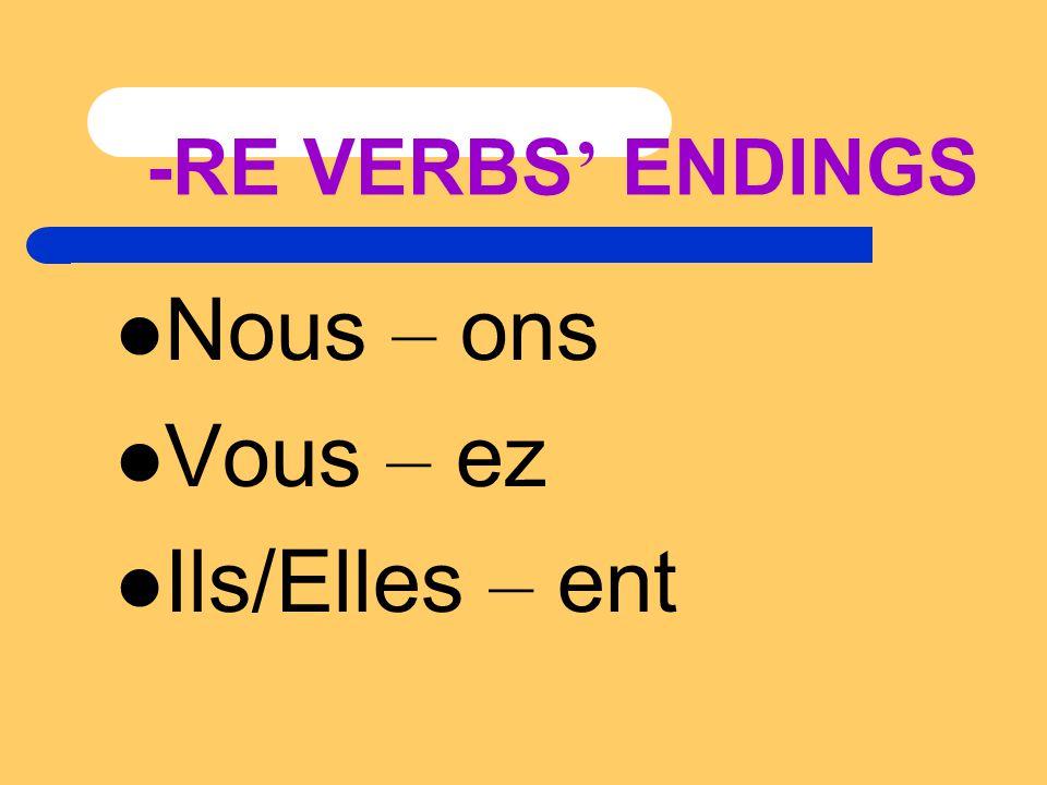 -RE VERBS ' ENDINGS Nous – ons Vous – ez Ils/Elles – ent