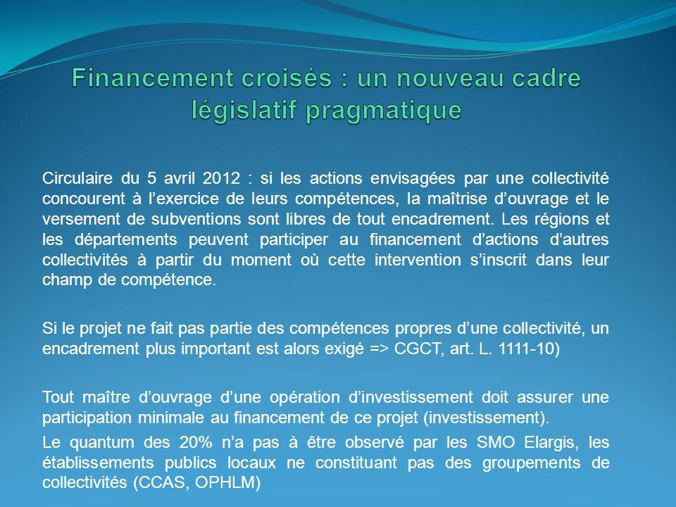Circulaire du 5 avril 2012 : si les actions envisagées par une collectivité concourent à l'exercice de leurs compétences, la maîtrise d'ouvrage et le