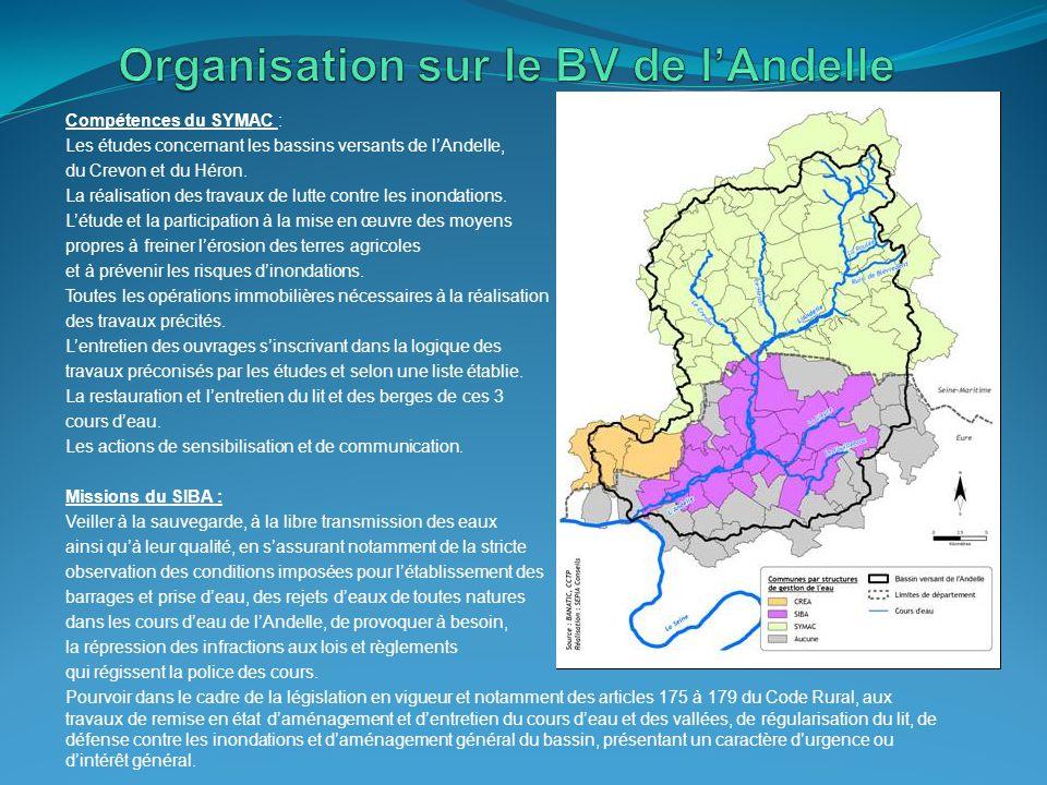 Compétences du SYMAC : Les études concernant les bassins versants de l'Andelle, du Crevon et du Héron. La réalisation des travaux de lutte contre les